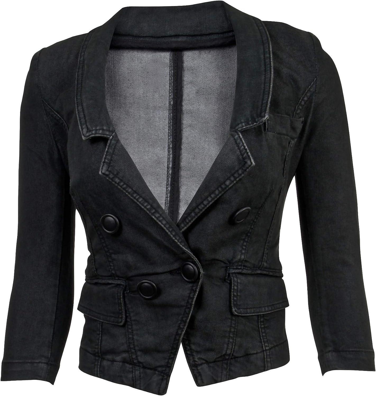Women/'s Juniors Long Sleeve Denim Blazer Fitted Jacket