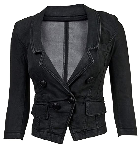 Amazon.com: Chaqueta para mujer de manga larga Denim Blazer ...
