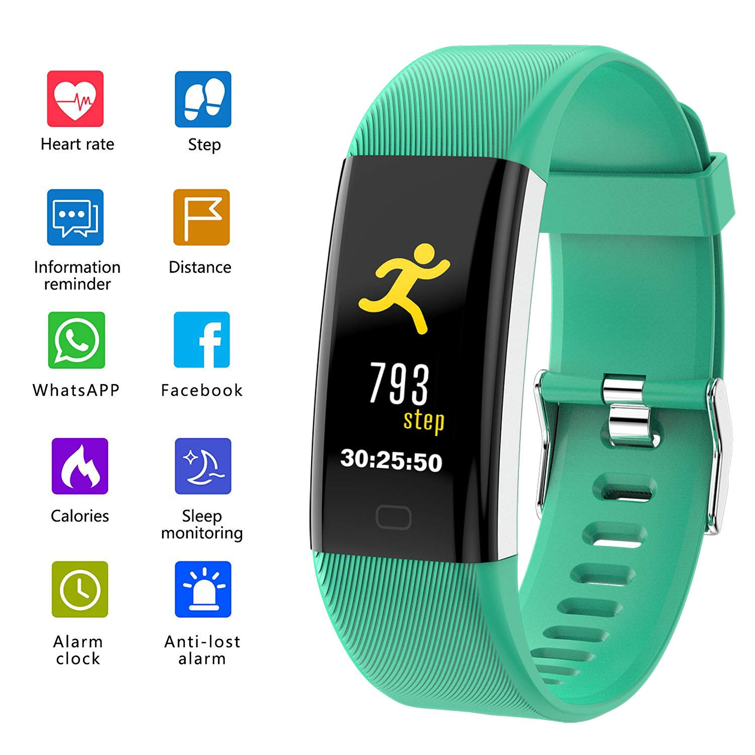 ANGGO Fitness Tracker with Heart Rate Monitor, Activity Tracker Watch IP68 Waterproof Smart Fitness Band with Step Counter, Sleep Monitor, Pedometer Watch for Kids Women and Men (Green)