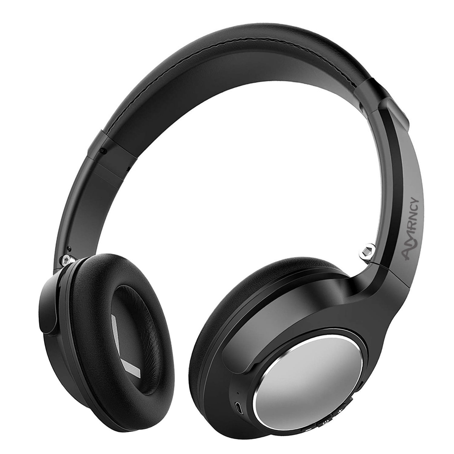 Bluetooth Headphones Wireless Headphones Noise Cancelling with Microphone Hi-Fi Deep Bass Wireless Headphones Over Ear 20H Playtime for Travel Work TV Computer Phone (Black)