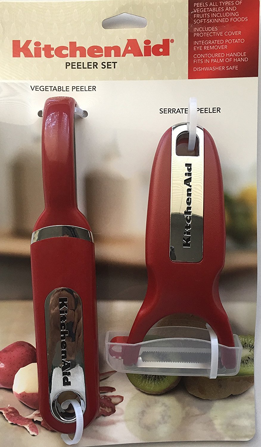 KitchenAid Classic 2-pc Handheld Peeler Set: Vegetable Peeler and Serrated Peeler, Red