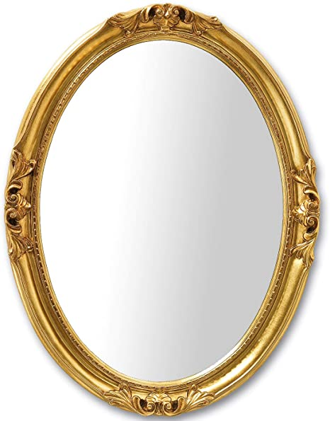 Mo Wa Oval Accent Wall Mirror Classic French Style Handfinished With Gold Leaf Size Cm 63x83 Made In Italy Amazon Co Uk Kitchen Home