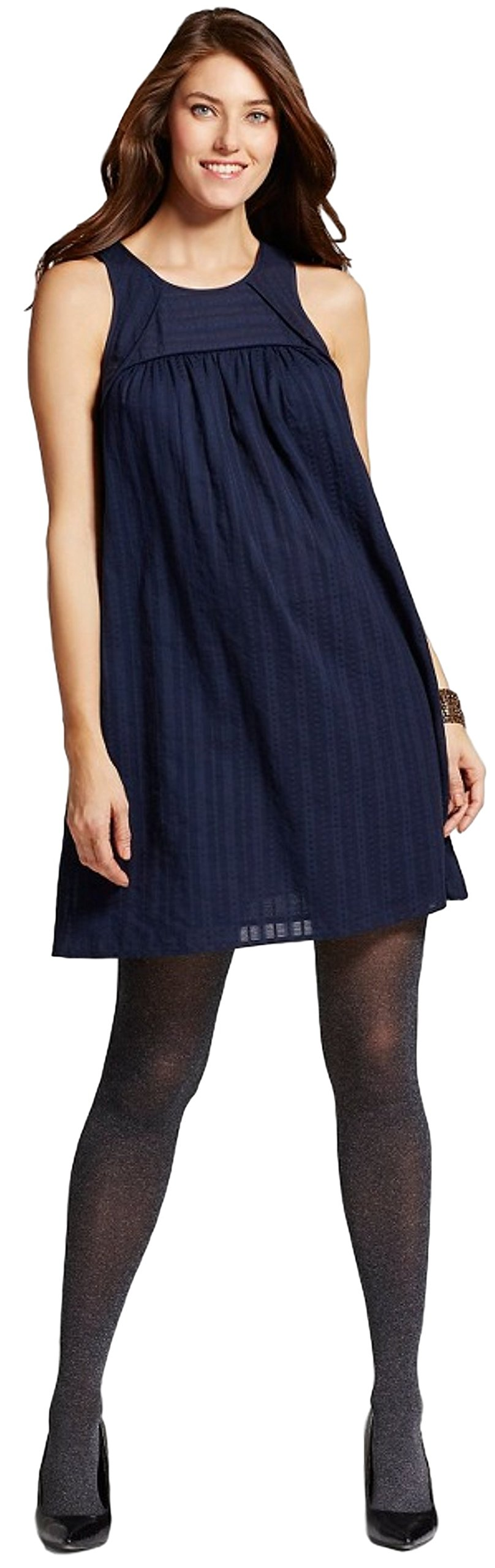 Liz Lange Maternity Women's Striped Gauze Dress (Large, Dark Shadow Blue)