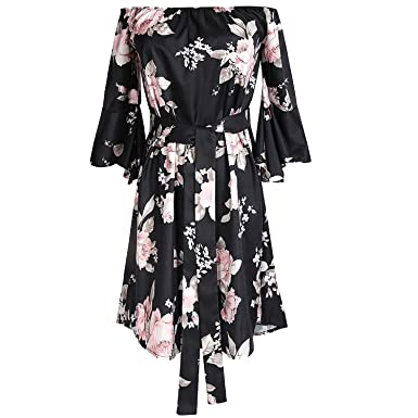 Women Sexy Off Shoulder Floral Print Dress Plus Size Short Party