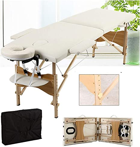Massage Table Massage Bed Portable 2 Section Folding Couch Bed Lightweight Adjustable for Height Beauty Salon Tattoo Therapy, 230kgs500lbs Max Weight