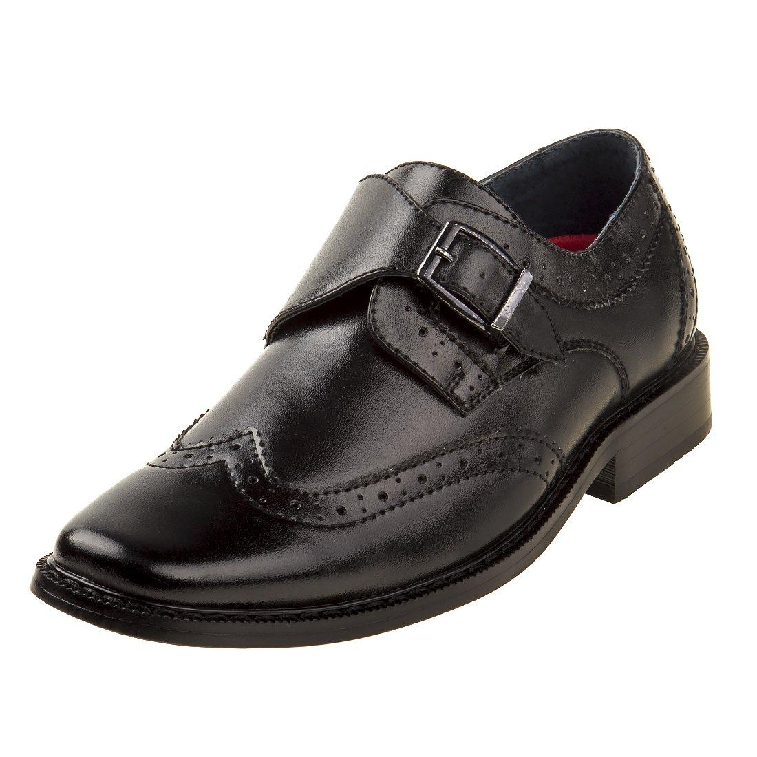 Joseph Allen Boy's Wingtip Shoe with Side Buckle, Black, 5 M US Toddler'