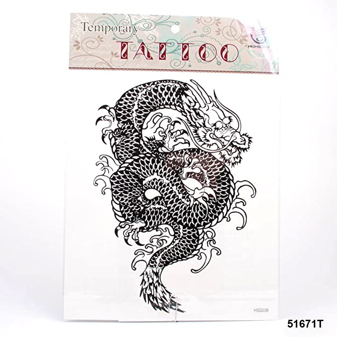 muy grandes tatuajes Dragón chino en negro: Amazon.es: Salud y ...