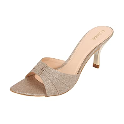 Catwalk Golden Leather Slip-on Heeled Sandals for Women's Women's Fashion Sandals at amazon
