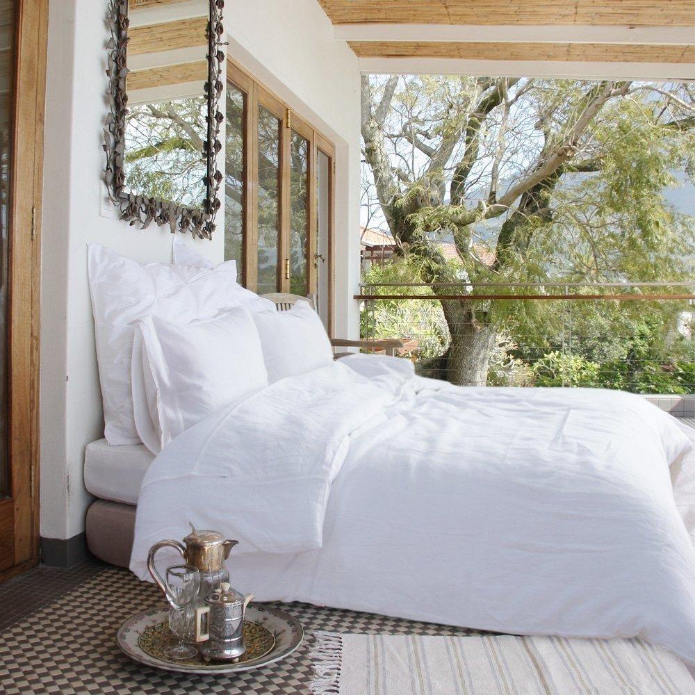 Merryfeel 100% Linen Duvet Cover Set - Full/Queen White