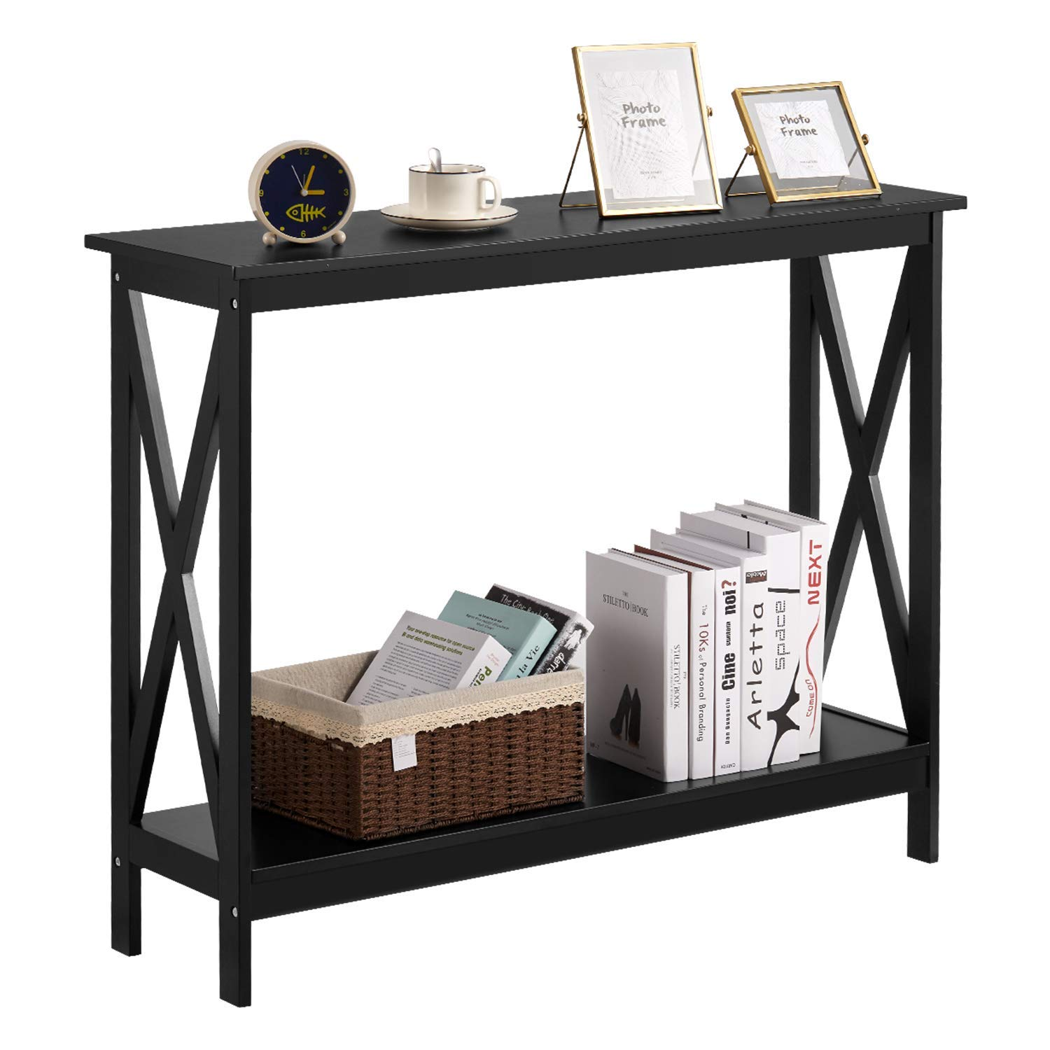 Kealive Console Table, 2-Tier Wood Sofa Table With Storage Shelf X Frame 39.4×11.8×31.5 inches, Black by kealive