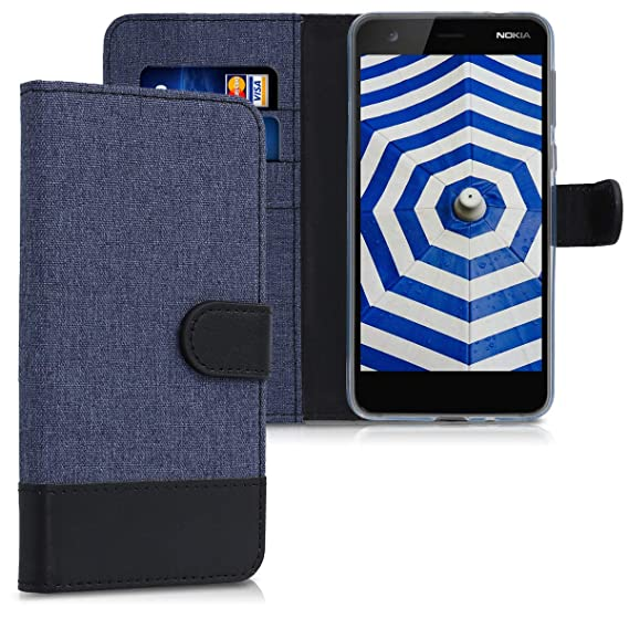 new concept 74b6f f299b kwmobile Wallet Case for Nokia 2 - Fabric and PU Leather Flip Cover with  Card Slots and Stand - Dark Blue/Black