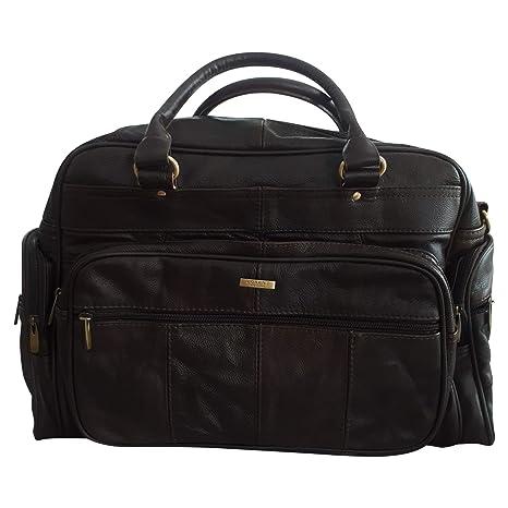 Bolsa de piel para hombre de viaje, bolsa de deporte para el gimnasio, bolsa de cabina, bolsa de fin de semana, color marrón