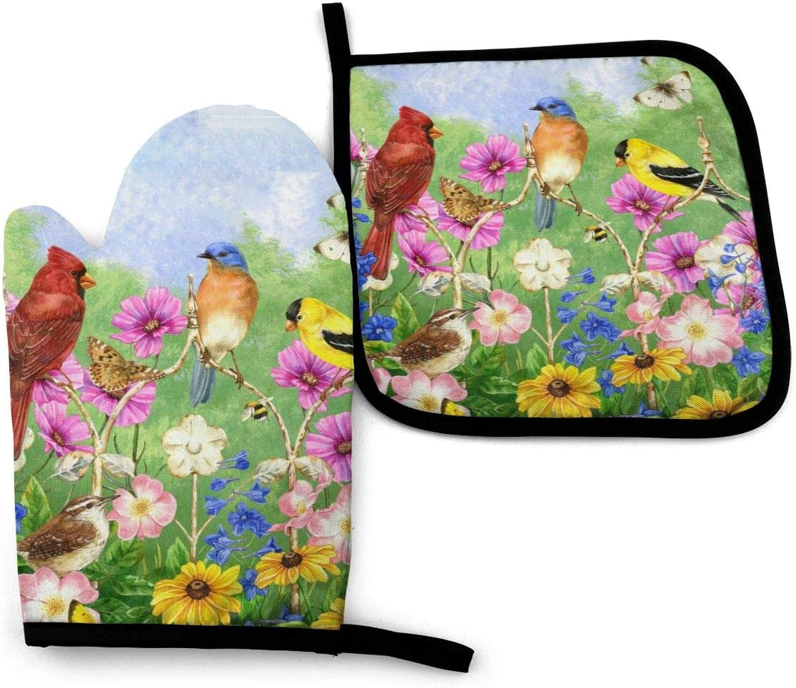 Abucaky Rustic Flowers Birds Butterflies Oven Mitts and Pot Holders Insulated Gloves & Kitchen Counter Safe Mats for Cooking BBQ Baking Grilling (2-Piece Set)