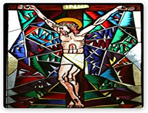 Metal Tin Sign-Crucifixion Stained Glass Window in Memorial Church of The Passion of Jesus in macelj Croat-Metal Tin Sign Retro Home Kitchen Office Garden Garage Wall Decor Tin Plaque TCY 24x18in
