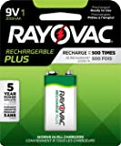 RAYOVAC 9V RECHARGEABLE PLUS Batteries, 1-Pack, PL1604-1 GENE