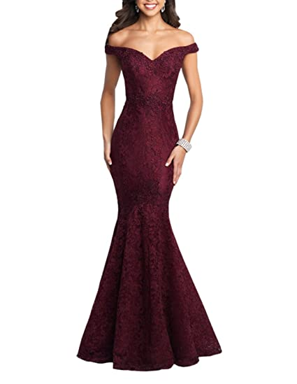 8c5e541f7d05 Mollybridal Off Shoulders Formal Prom Dress Mermaid Lace Sequins Applique  with Sleeves Burgundy 0