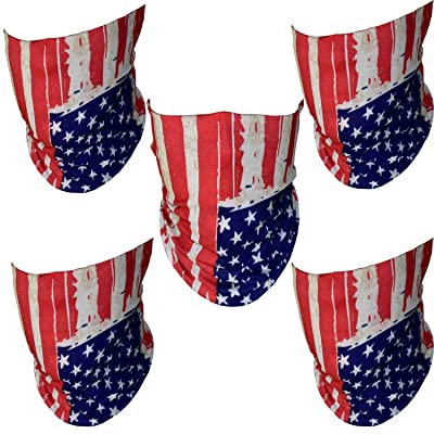 "ZeeDix 5 Pcs""Old Glory""American Flag Outdoor Face Shield - Multifunctional Seamless Microfiber UV Protection Face Neck Shields Headwear for Men&Women Riding, Skiing, Snowboarding, Hiking & More(Red): Automotive"