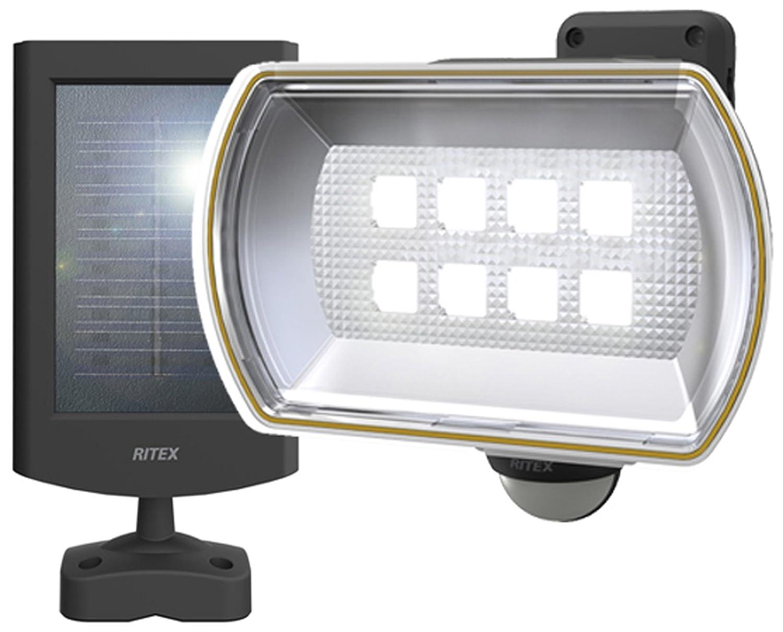 2位.ムサシ 8Wワイド フリーアーム式LEDソーラーセンサーライト