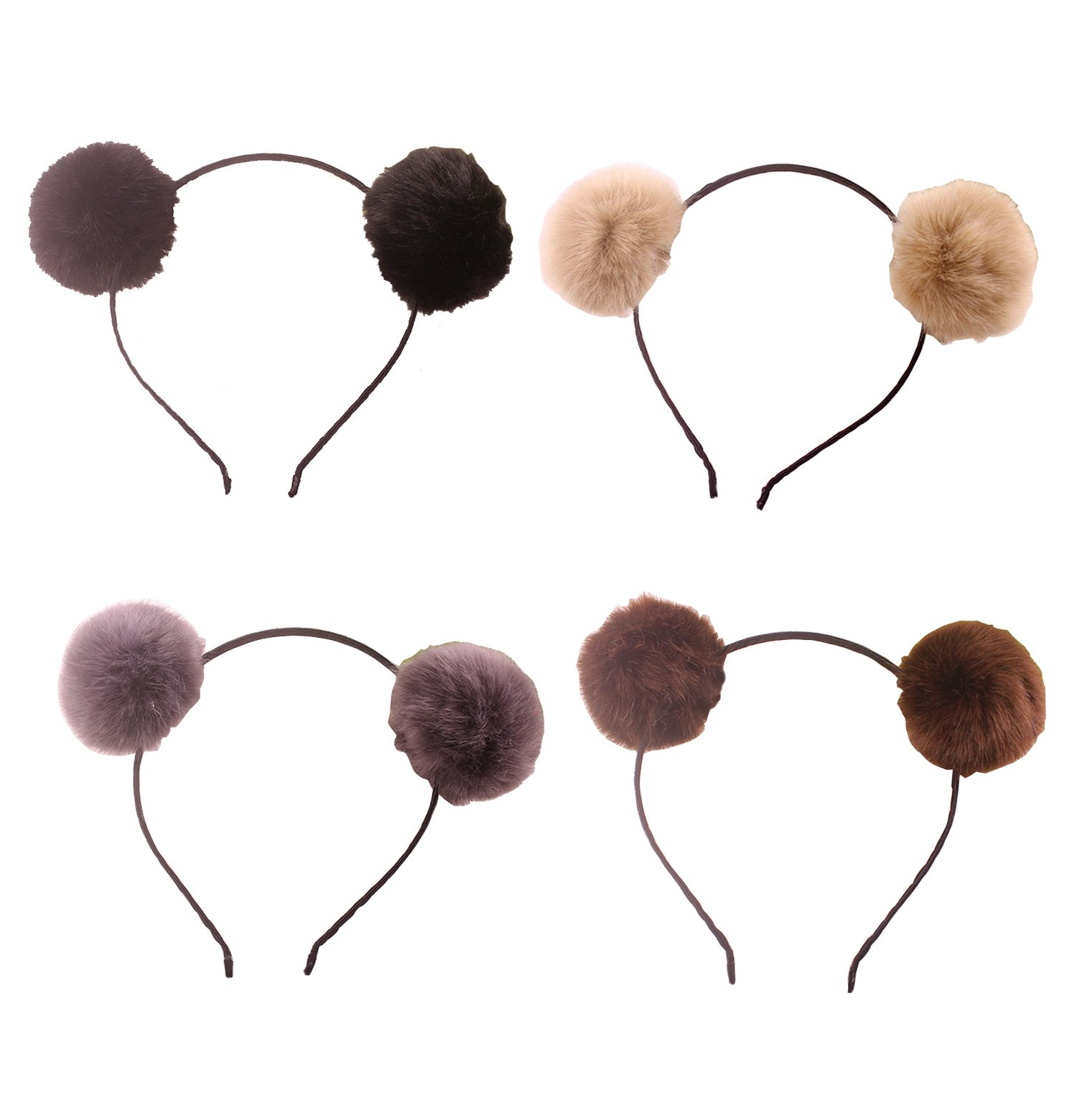 Headband Bear Ears Fluffy Furry Soft Ball Cute Fashion Hoop Hairband Halloween Christmas Party Birthday Headwear Cosplay Costume for Girls Boys Toddlers Kids Adults (B set) by Elaine Room
