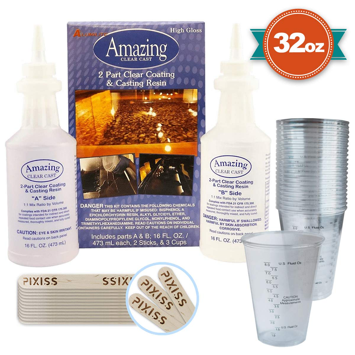 32-Ounce Alumilite Amazing Clear Cast Resin, 20x Disposable Graduated Clear Plastic Cups, Pixiss Mixing Sticks Bundle