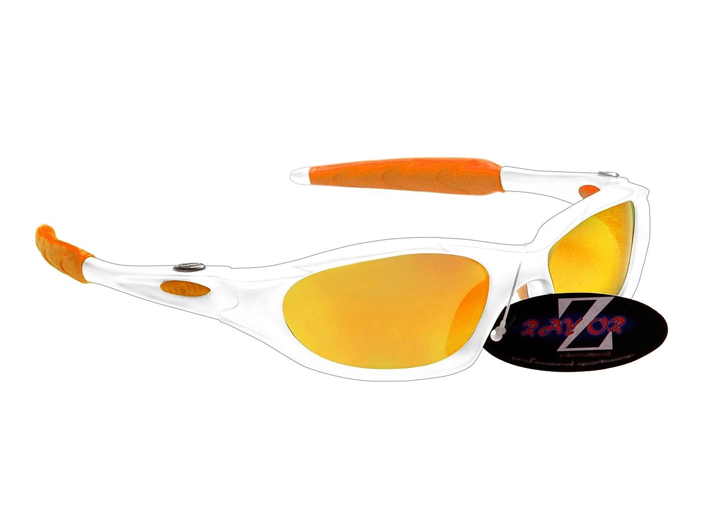 RayZorプロフェッショナル軽量uv400ホワイトスポーツラップクリケットサングラス、with aゴールドイリジウムミラーアンチグレアレンズ B002IJVL4K