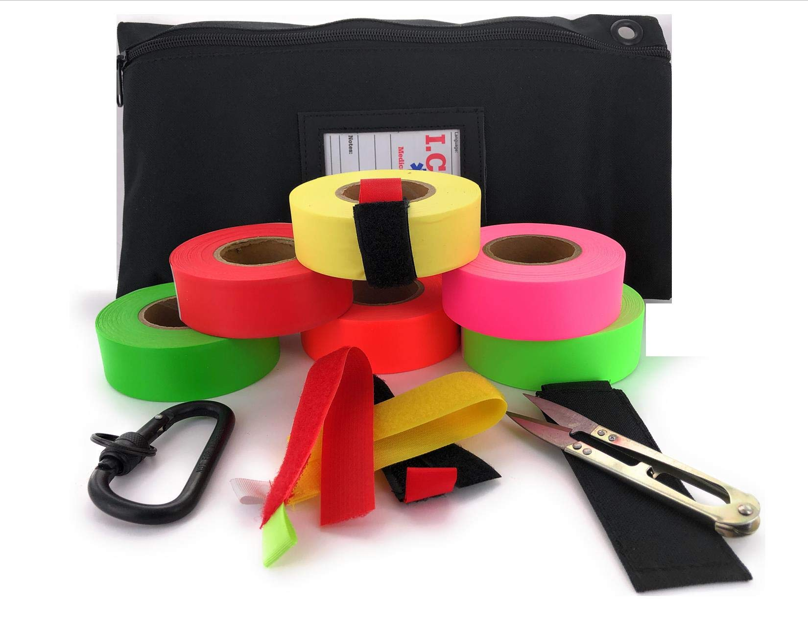 VAS HIGH Visibility Rainbow Trail Marking & Flagging Ribbon DLX Tape Trail Pack- Outdoor, Commercial & Industrial Use Organizer Utility Bag Scissors & Case Retention Strap (1 Each Color, 6 Pack)