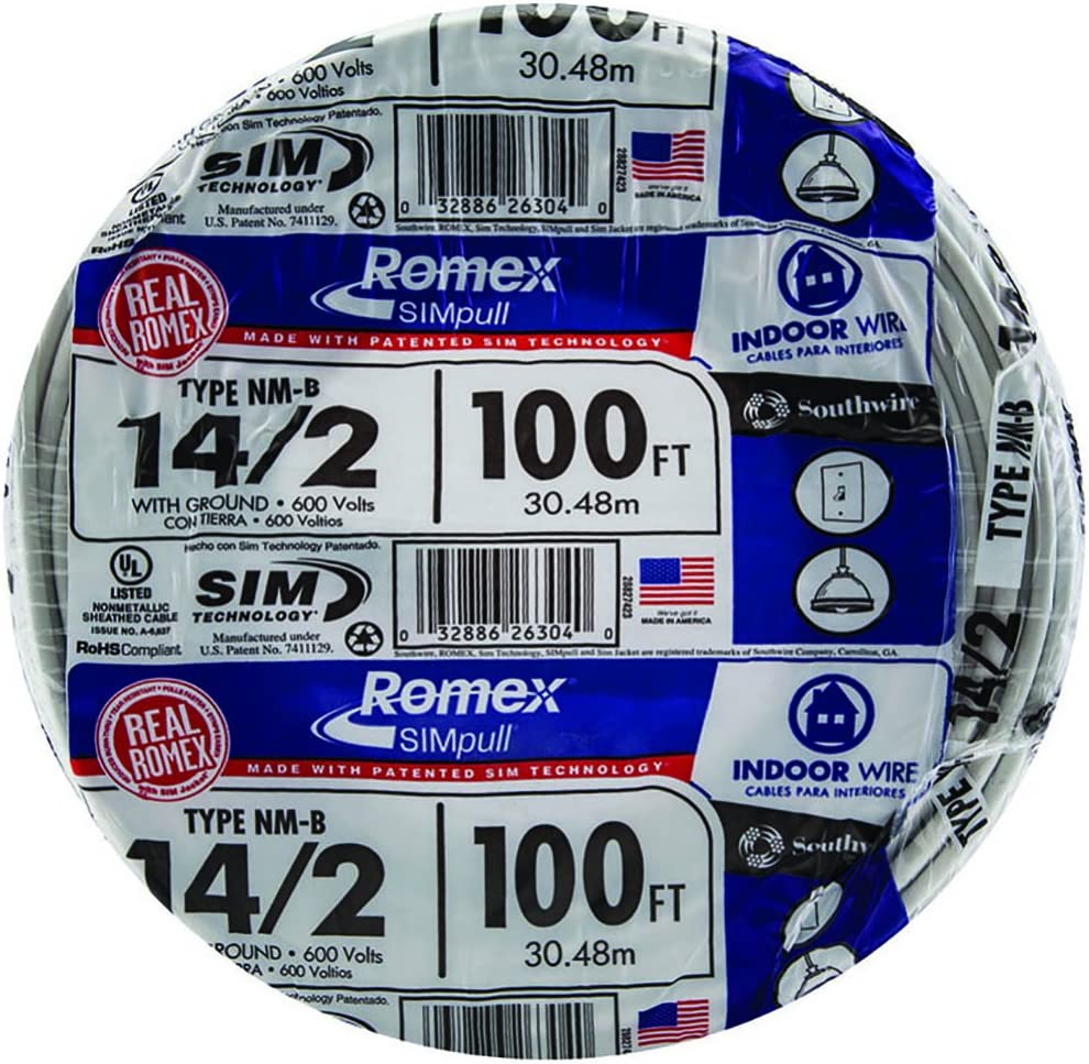 Southwire 28827423 100' 14/2 with ground Romex brand SIMpull residential indoor electrical wire type NM-B, White - Electrical Wires -