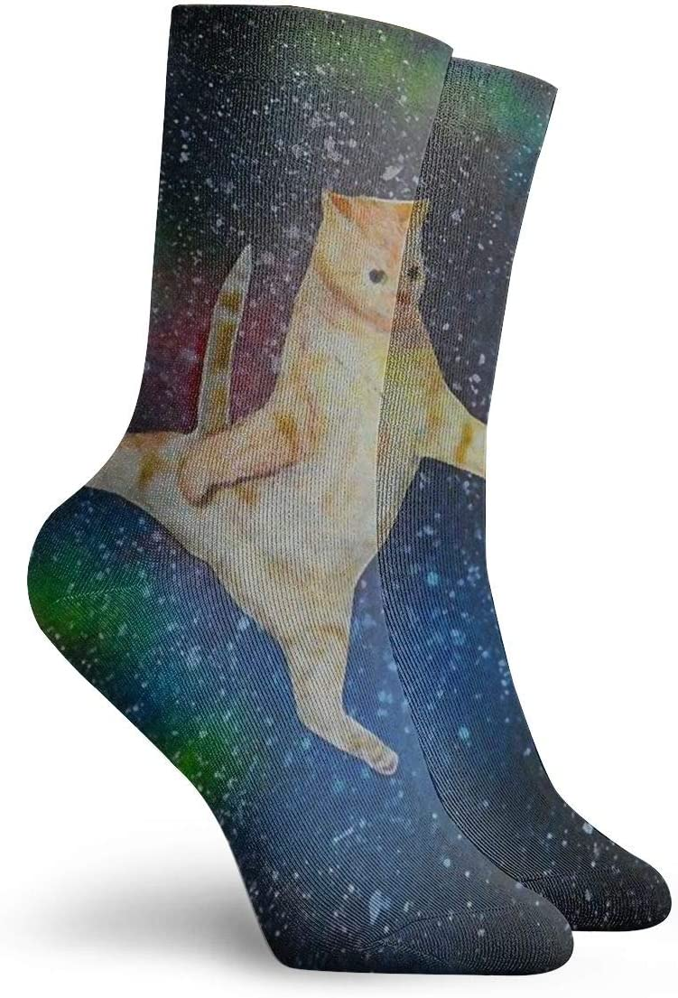 SARA NELL Novelty Funny Crazy Crew Sock Orange Fat Cat in Galaxy Printed Sport Athletic Socks 30cm Long Personalized Gift Socks