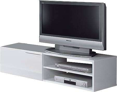 HABITMOBEL Mueble Modulo Mesa TV Blanco 35 x 130 x 42 cm: Amazon.es: Hogar