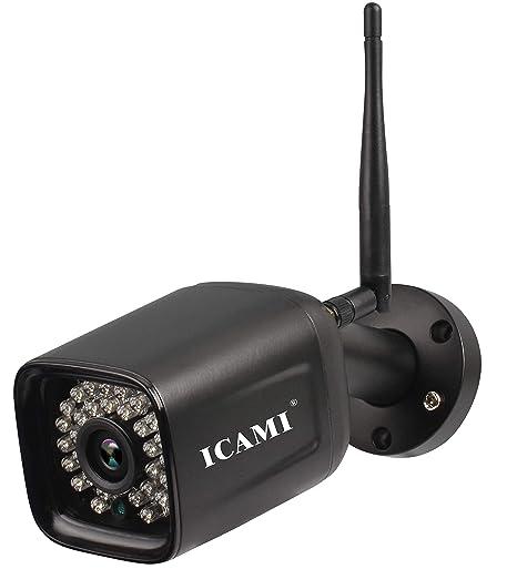 ICAMI HD 1080P Cámara de Seguridad inalámbrica Wi-Fi para Exteriores Impermeable con visión remota