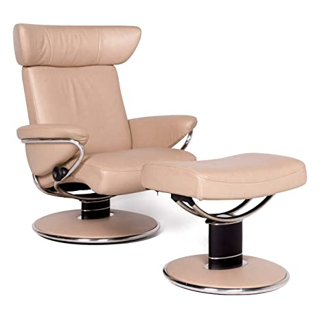 Stressless Jazz M Designer Leather Armchair with Stool Beige ...