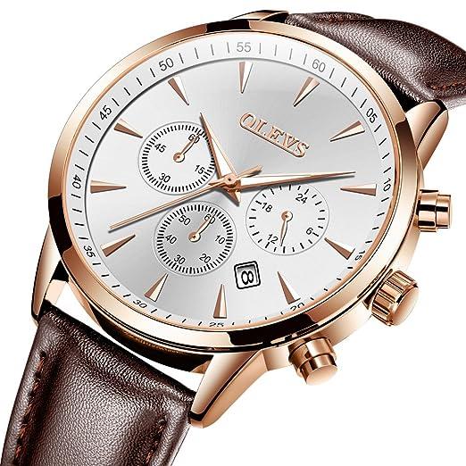OLEVS - Reloj de pulsera para hombre, con 3 cronógrafos, esfera negra/blanca
