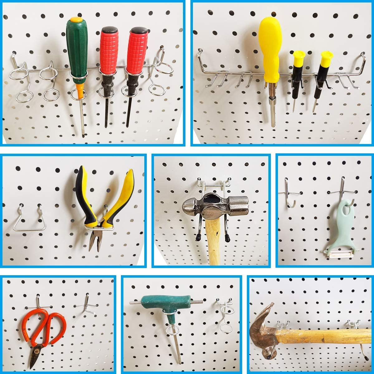 attaches pour panneau perfor/é 1//4 pouce 4YANG Kit dorganisateur daccessoires pour panneau perfor/é ensemble de crochets pour panneau perfor/é et ensemble de panier pour panneau perfor/é