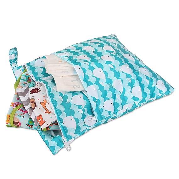 Damero 2 piezas Bolsa de Pañales Reutilizable, Bolsa de Cambio de Pañal para Bebes Impermeable, Bolsa para la Ropa de Bebé para pañales, ropa sucia y más: ...