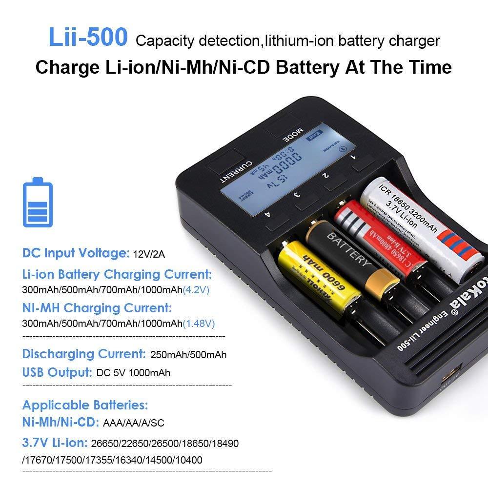 Universal Cargador de Pilas, LiitoKala Lii-500 Cargador con Pantalla LCD para 18650,26650, 18500, 18350, 17670, 17500, 16340, 14500, 10440 Ni-MH Ni-Cd ...