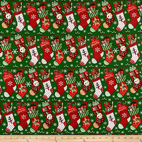 Santee Print Works Christmas Cheer Stockings Green Fabric by The Yard,