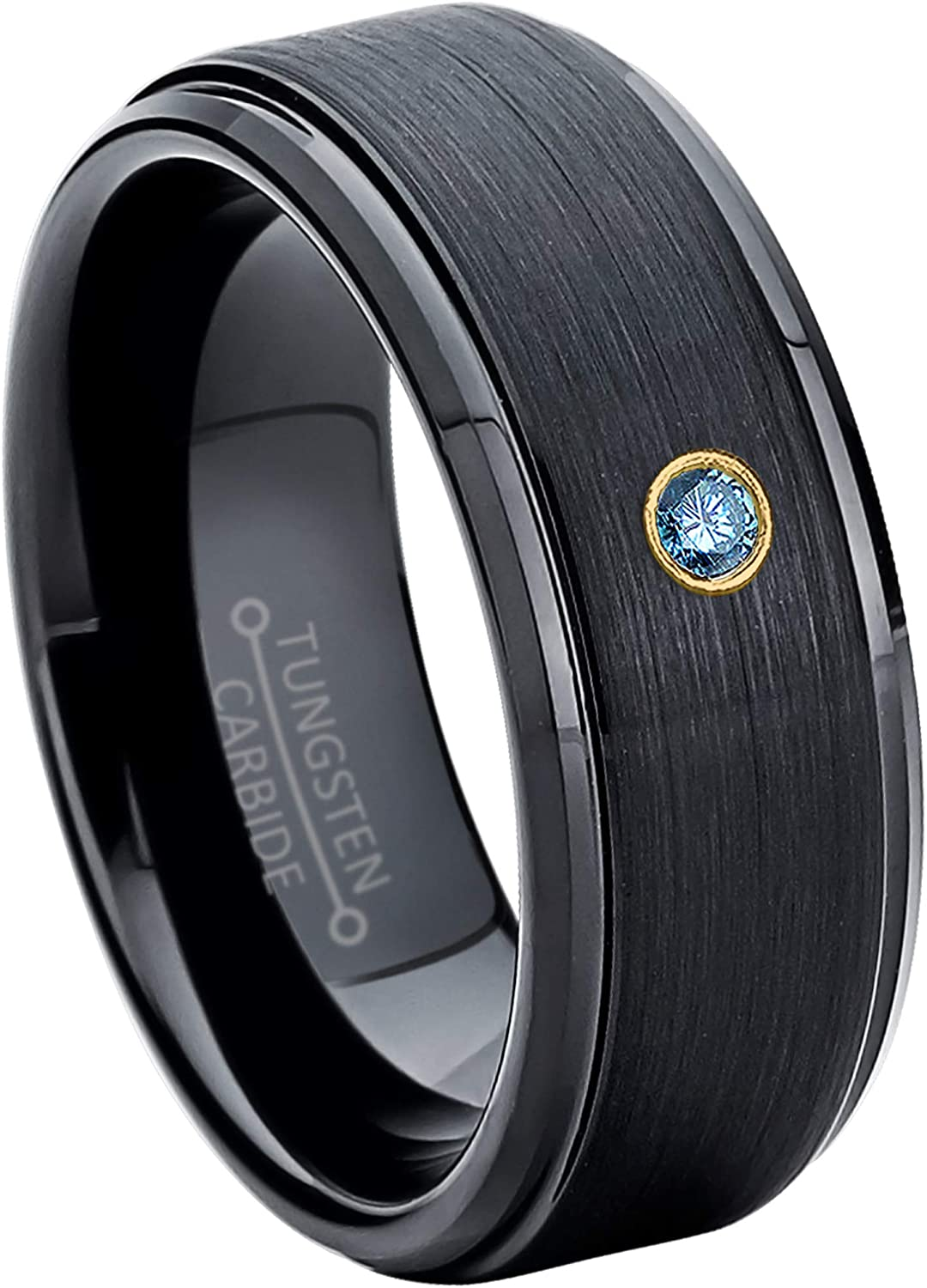 8MM Comfort Fit Matte 2-Tone Black /& Rose Gold Stepped Edge Tungsten Carbide Wedding Band April Birthstone Ring Jewelry Avalanche 0.07ct Blue Diamond Tungsten Ring