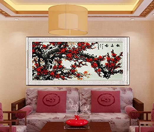 Amazon Com Inkwash Pure Hand Painted Large Size Red Plum Blossom
