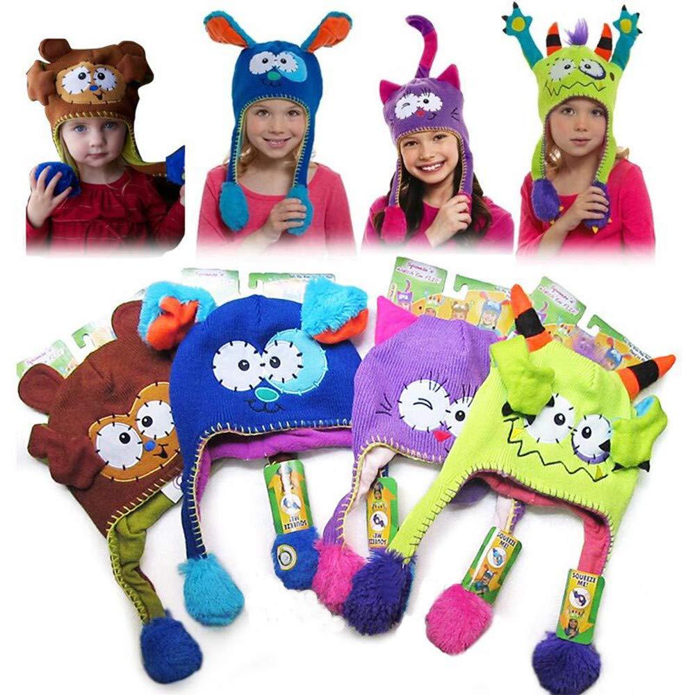 ... TiTCool Lovely Toddler Baby Girls Boys Winter Warm Flipeez Hat Vivid  Animal Pattern Children Knitted Cap ... c4ffbb601123