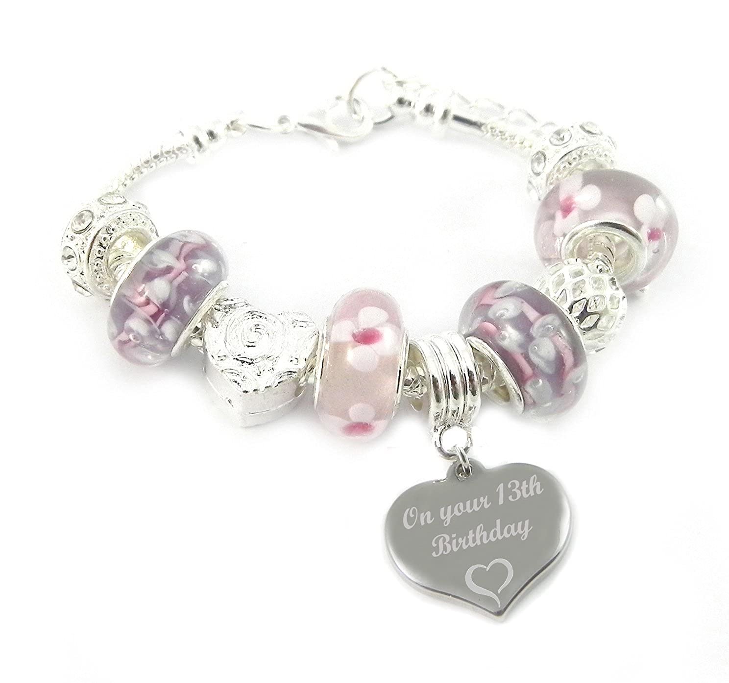 13th Birthday Personalised Engraved Pink & Lilac Charm Bracelet Girl's Charmed Jewellery LC-PKXCR-BD-13