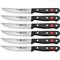 WÜSTHOF Gourmet Six Piece Steak Knife Set | 6-Piece German Knife Set | Precise Laser Cut High Carbon Stainless Steel Kitchen Steak Knife Set – Model 9728