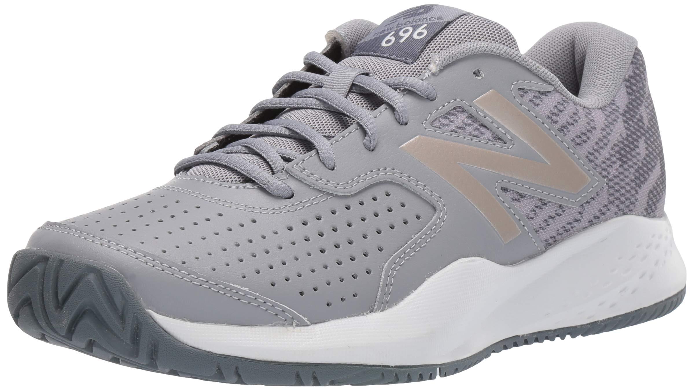 New Balance Women's 696v3 Hard Court Tennis Shoe, STEEL/CHAMPAGNE, 9 M US by New Balance