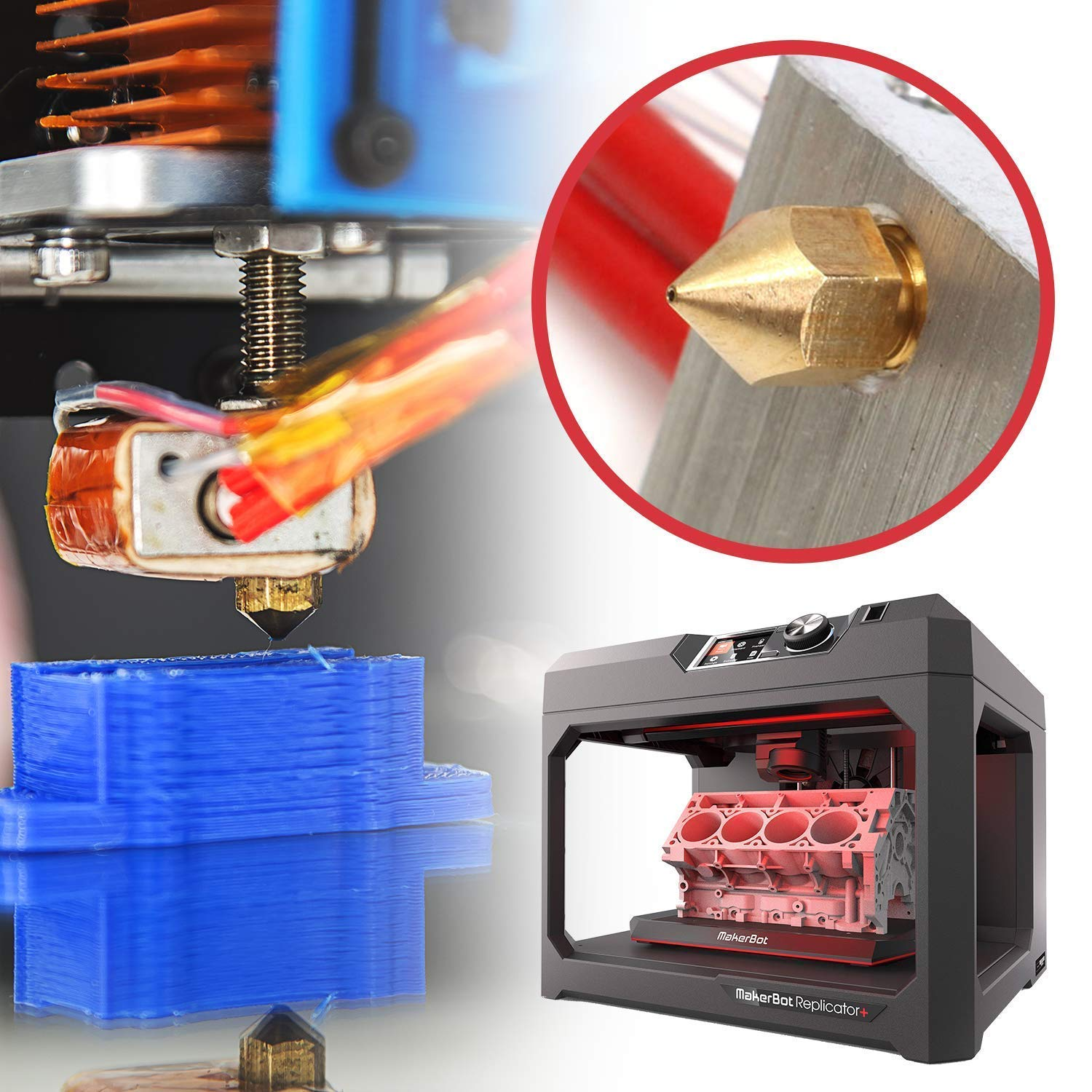 3D Printer Nozzles Brass MK8 Nozzle 0.4mm 0.5mm 0.3mm 0.2mm Extruder Print Head for 1.75mm Printer Makerbot Creality CR-10 16 Pieces