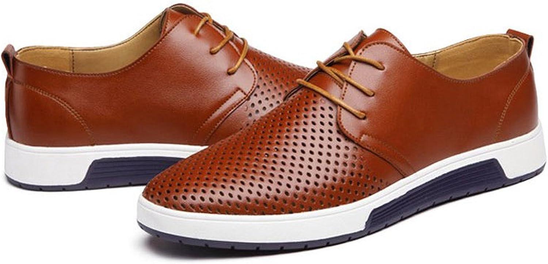 LILY999 Zapatos de Cuero Hombre Oxford con Cordones Brogue Vestir Derby Informal Negocios Boda Calzado Respirable 38-48