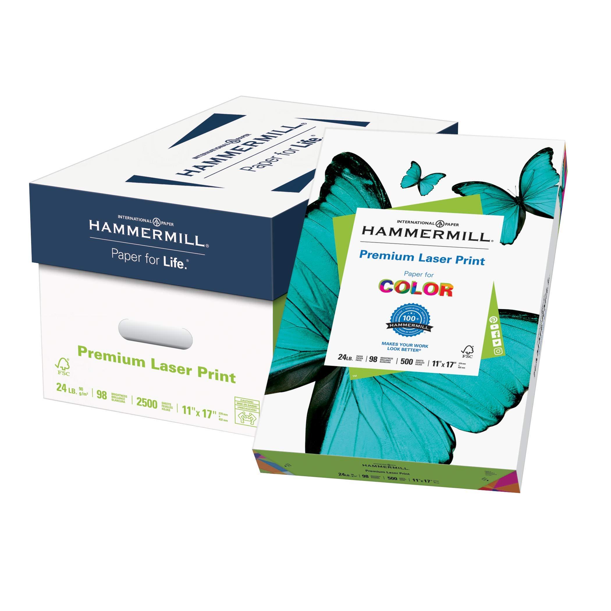 Hammermill Paper, Premium Laser Print Paper, 11 x 17 Paper, Ledger Size, 24lb Paper, 98 Bright, 5 Reams / 2,500 Sheets (104620C) Acid Free Paper