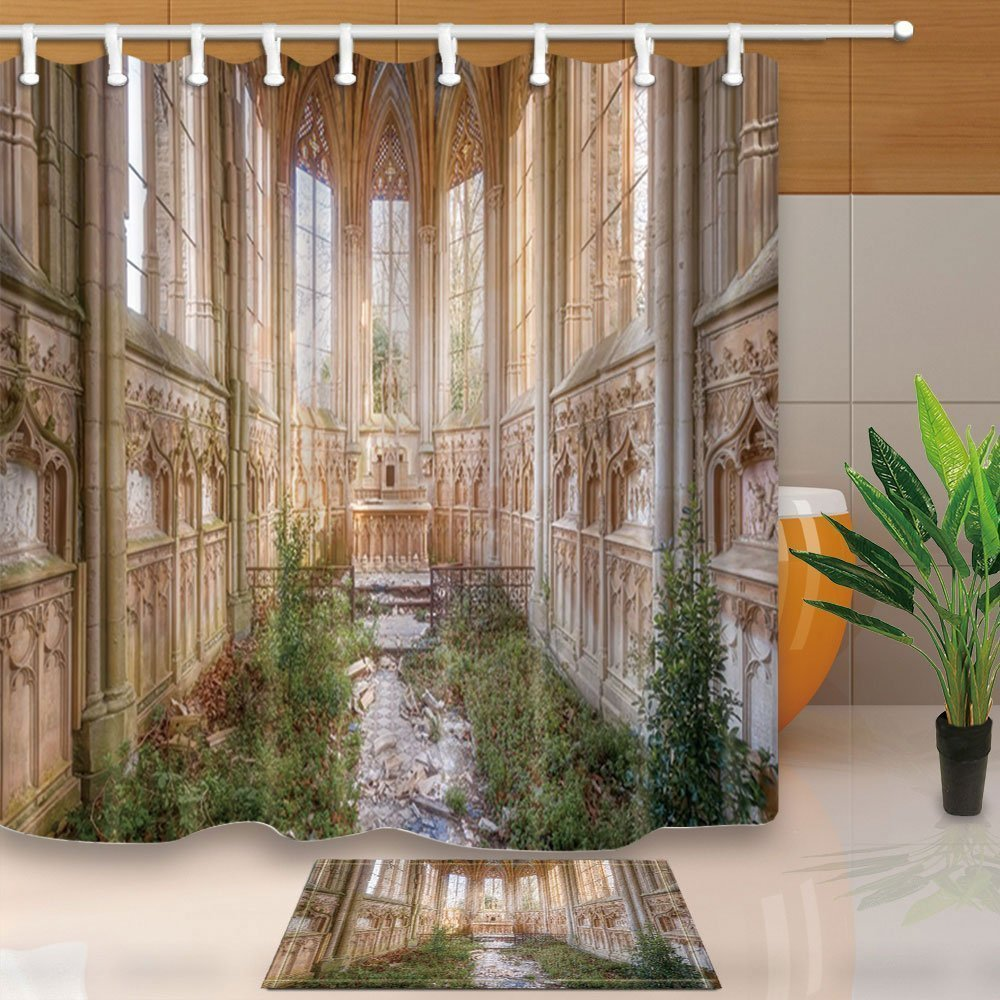 The Ancient Gates Decor Door with the Christian Church Armenia 71X71Inch Mildew Resistant Polyester Fabric Shower Curtain Suit With 15.7x23.6in Flannel Non-Slip Floor Doormat Bath Rugs