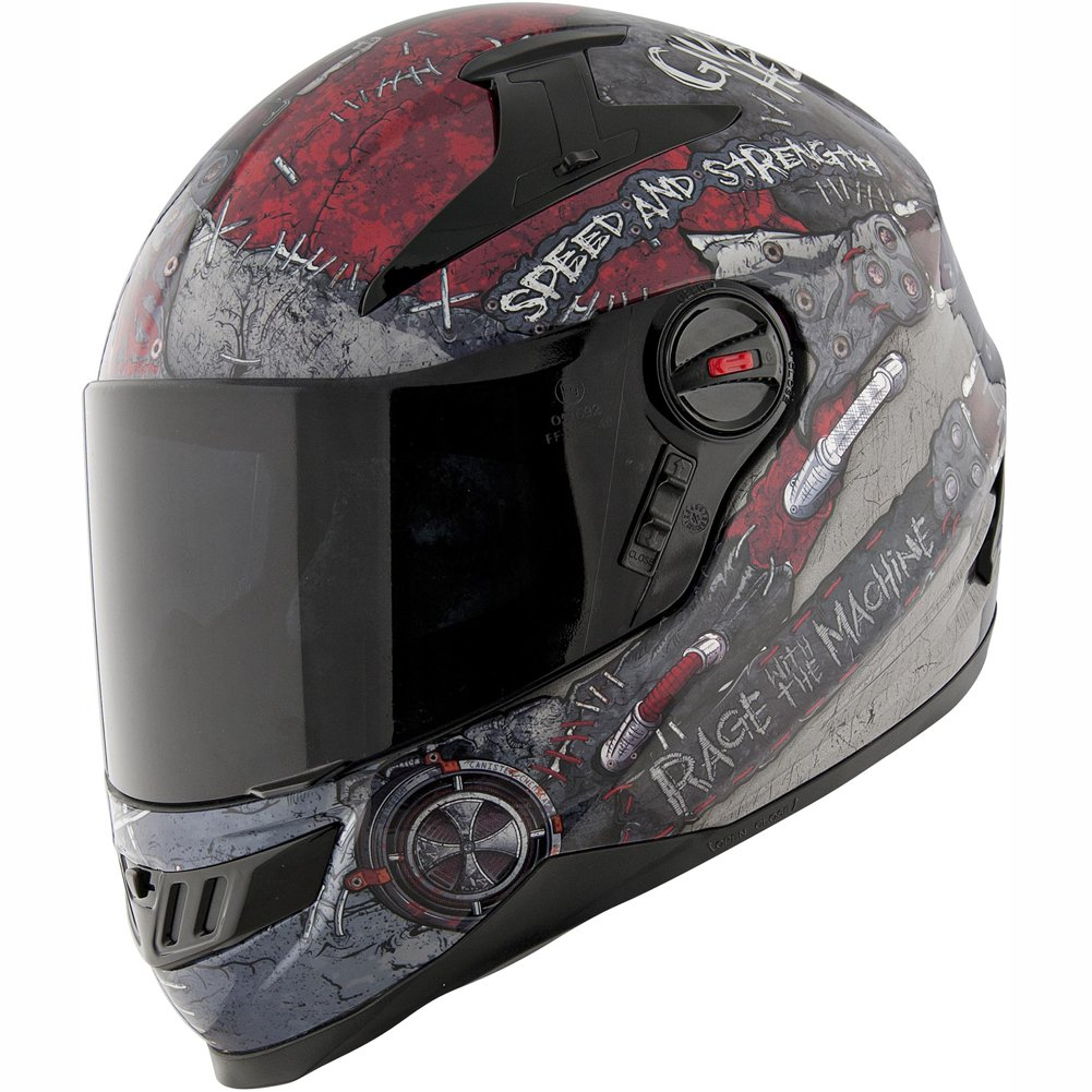 Speed and Strength Rage With The Machine Men's SS1300 Street Racing Motorcycle Helmet - Black/Red / X-Large by Speed and Strength