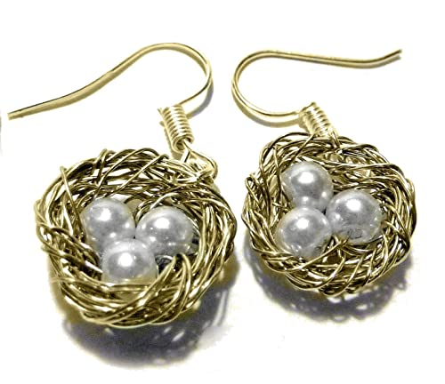 Unique Handcrafted Gift Bird Nest Stud Earrings Wire Wrapped Gold with White Pearl Eggs