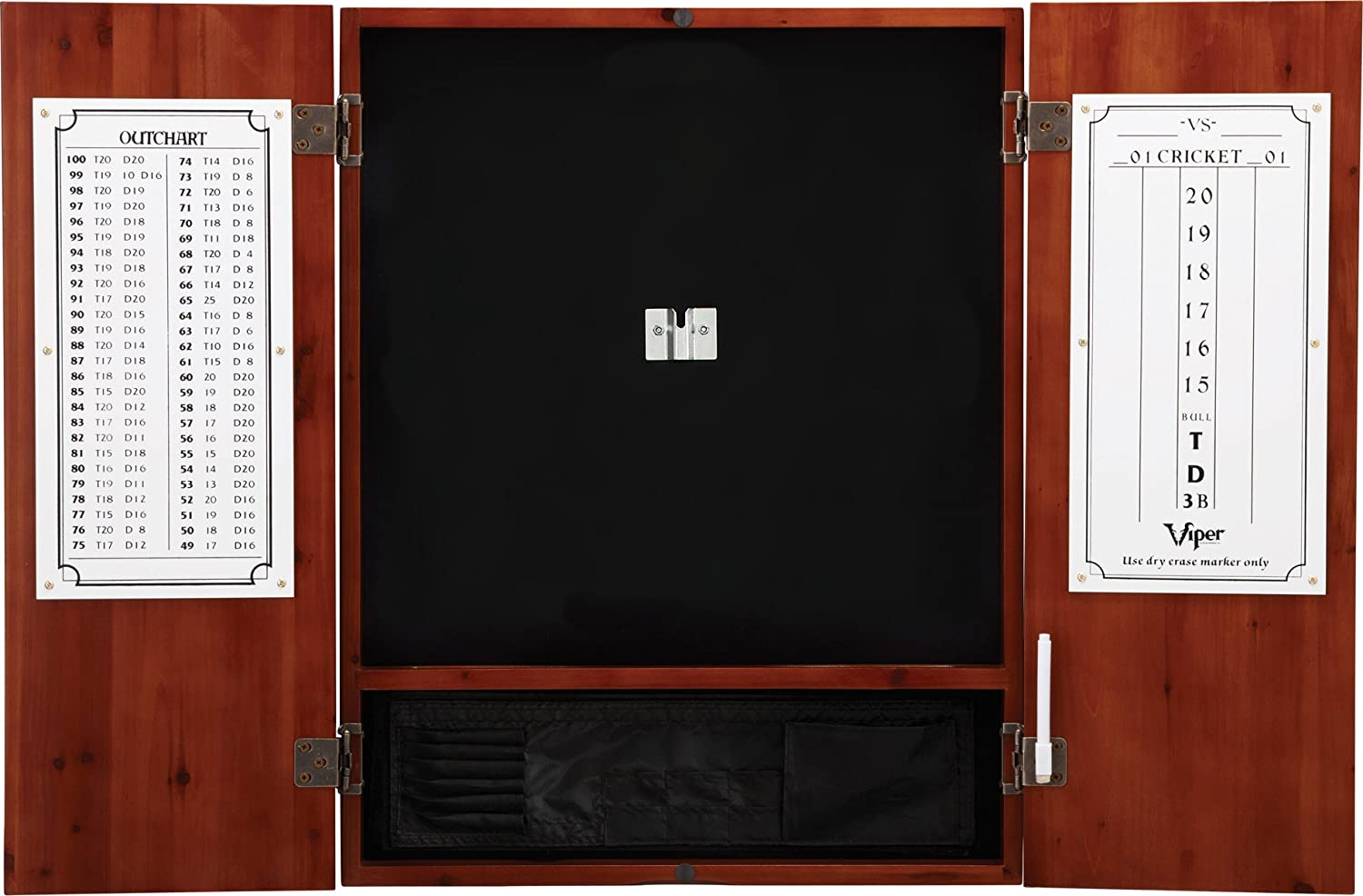 Viper Metropolitan Solid Wood Cabinet & Sisal/Bristle Dartboard Ready-to-Play Bundle with Steel-Tip Darts, Integrated Storage, Dry Erase Scoreboard & Out-Chart in Multiple Stain Options