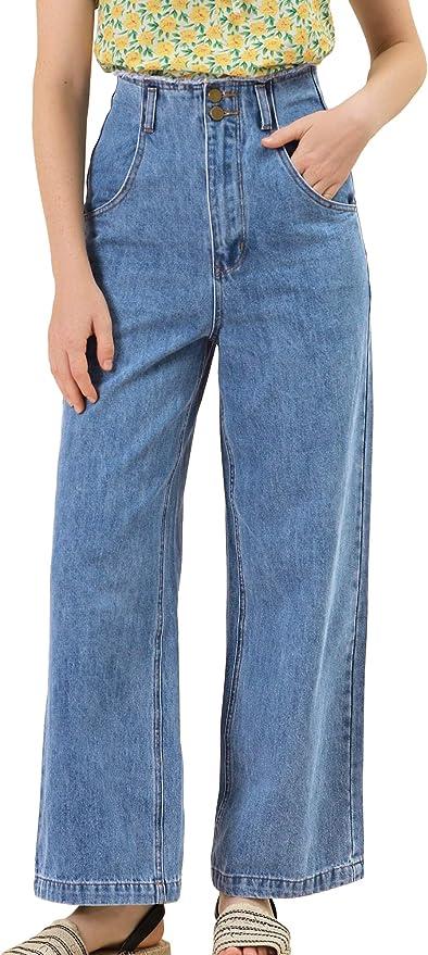 1980s Clothing, Fashion | 80s Style Clothes Allegra K Womens High Waist Denim Jeans Cotton Trim Long Pants Wide Leg Jeans  AT vintagedancer.com